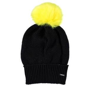 Knitted bobble hat BLACK