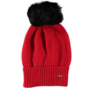 Knitted bobble hat RED