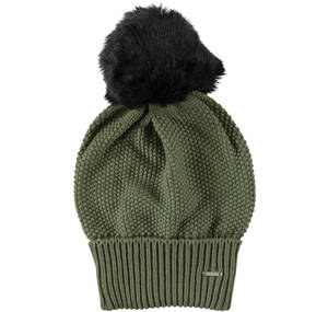 Knitted bobble hat GREEN