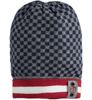 Beanie hat with a pretty geometric pattern BLUE