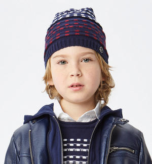 Jacquard patterned beanie   BLUE