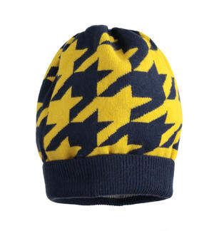 Pied de poule patterned beanie hat BLUE
