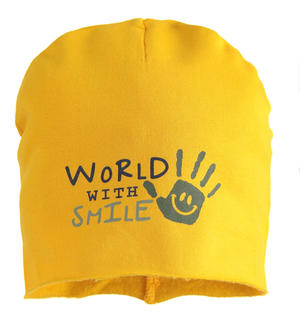 """World with smile"" fleece beanie hat YELLOW"