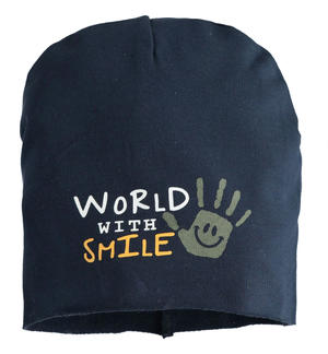 """World with smile"" fleece beanie hat BLUE"