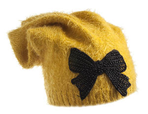 Lurex fur beanie with bow  YELLOW
