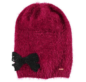 Lurex fur beanie with bow  RED