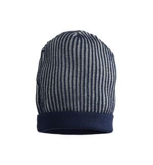 Ribbed knitted beanie hat BLUE