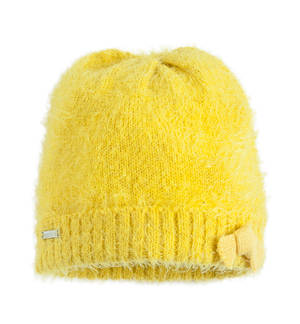 Lurex fur effect knitted beanie  YELLOW