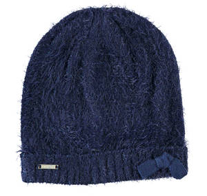 Lurex fur effect knitted beanie  BLUE