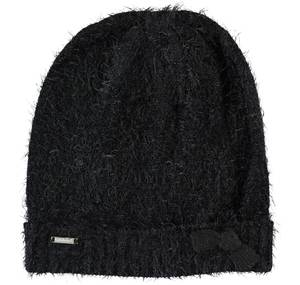 Lurex fur effect knitted beanie  BLACK