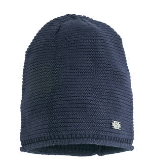 Sarabanda wool/cotton mix knitted beanie BLUE