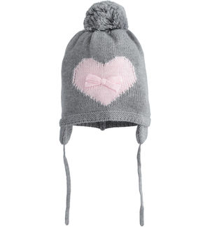 Beanie cap for newborn girl in tricot with ear flaps GREY