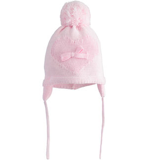 Beanie cap for newborn girl in tricot with ear flaps PINK