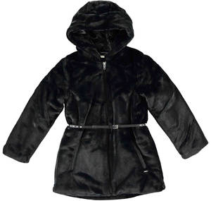A faux fur padded jacket with hood and faux leather belt BLACK