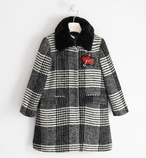 Check patterned tweed coat