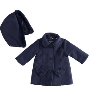 Cloth coat for newborn girl with heart pockets