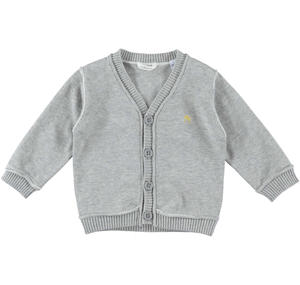 100% cotton long-sleeved baby boy cardigan GREY
