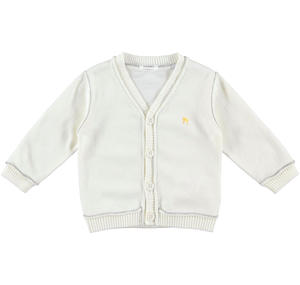 100% cotton long-sleeved baby boy cardigan CREAM