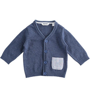 100% cotton baby boy cardigan in sugar paper colour BLUE