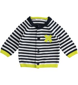 100% striped cotton baby cardigan GREEN