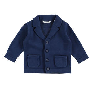 100% cotton long-sleeved cardigan with front pockets BLUE