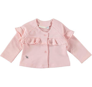 Baby girl long-sleeved cotton cardigan with ruffles PINK
