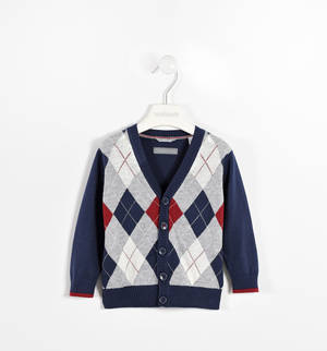 Diamond-patterned cardigan with elbow patches BLUE