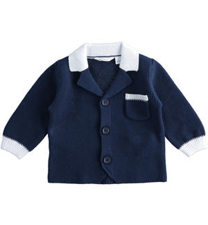 100% cotton baby boy blue cardigan with white contrasting details BLUE