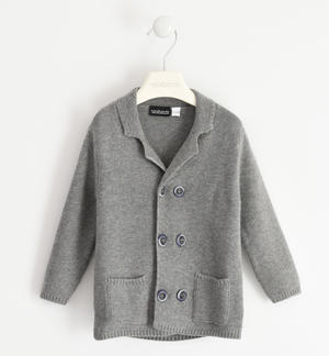 Cardigan with wood effect buttons for boy GREY