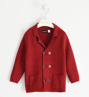 Cardigan with wood effect buttons for boy RED