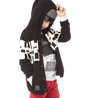 Cardigan with hood and fret - Sarabanda fashionable and comfortable clothes for 0-16 year old kids