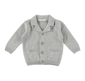 Soft tricot cardigan with notched collar  GREY