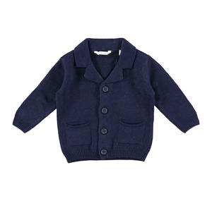Soft tricot cardigan with notched collar  BLUE