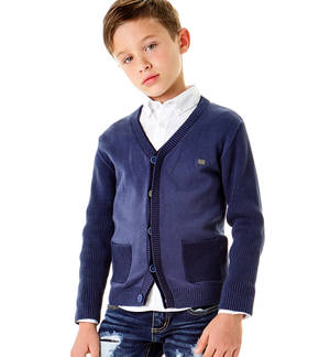Cardigan with a double collar for boys BLUE
