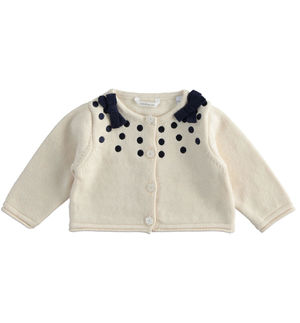 Cardigan with embroidered polka dots for newborn girl