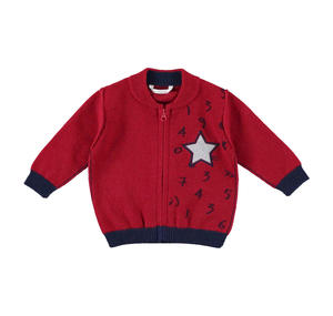 Tricot cardigan with star  RED