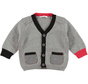 Cardigan with striped frontal pockets GREY