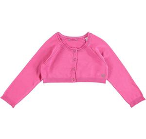 Stretch viscose knit short cardigan with raglan sleeves PINK