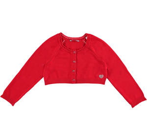 Stretch viscose knit short cardigan with raglan sleeves RED