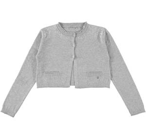 Short furry knit fabric cardigan GREY