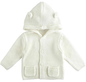 Newborn cotton and wool cardigan with hood CREAM