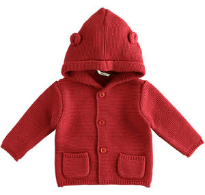 Newborn cotton and wool cardigan with hood RED