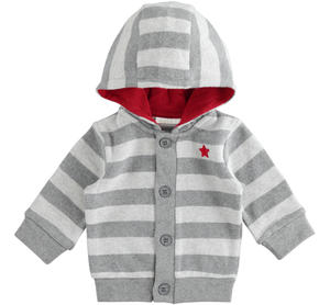 Warm stretch cotton newborn baby cardigan with fixed hood