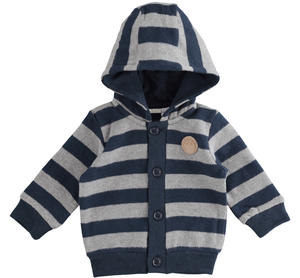 Warm stretch cotton newborn baby cardigan with fixed hood BLUE