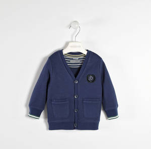100% cotton fleece cardigan  BLUE