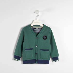 100% cotton fleece cardigan  GREEN