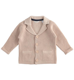 100% cotton tricot cardigan with contrasting details BEIGE
