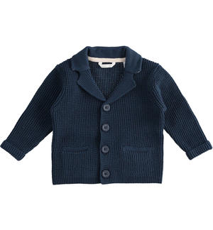 100% cotton tricot cardigan with contrasting details BLUE