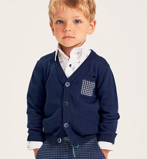 100% cotton tricot cardigan with checked pocket BLUE