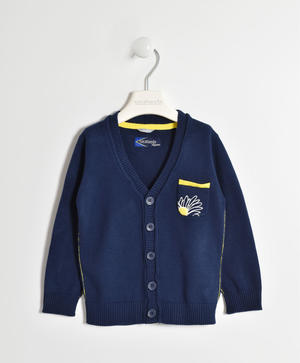Cotton tricot cardigan with patches BLUE